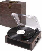 RP170D Record Player with Record Storage Case Dark Wood