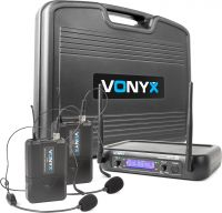 WM73H 2-Channel UHF Wireless Microphone System with 2x Bodypacks and Display