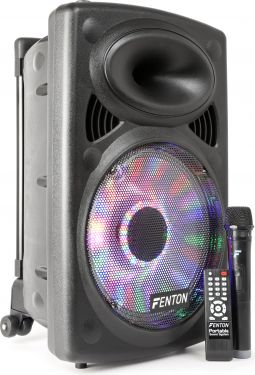 "Transportabel højtaler 12"" bas 200W - MP3 / USB / Bluetooth / Trådløs mikrofon og LED lys!"