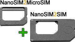 NanoSIM adaptorsæt / NanoSIM til MicroSIM + NanoSIM til SIM