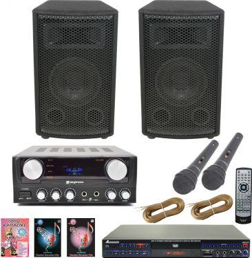 Komplet Karaokepakke med karaoke-afspiller, sange og sanganlæg