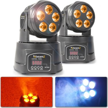 BeamZ MHL90 Mini Moving Head Wash 5x 18W 6-in-1 LEDs - Pakketilbud