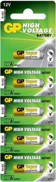 27A 12V alkaline battery - 5 piece on a blister