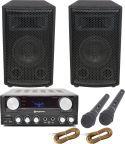 Højttalersæt til sang, 300W med HIFI forstærker, 2 mikrofoner og lydkabel til fx mobiltelefon