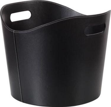 Toolland - Brændekurv i Sort læder - Vintage look (Ø39cm)