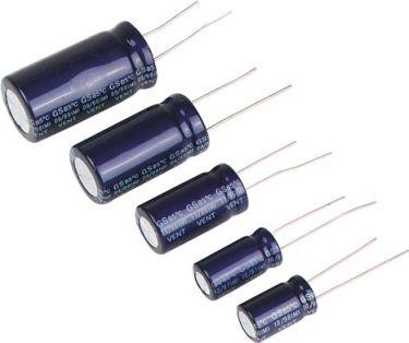 470uF / 25V Lodret elektrolyt (105°C)