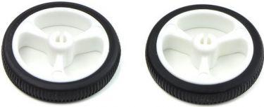 Hjul Akseldiameter 3 mm, hvid m. sort gummi Ø:32x7mm (2 stk.