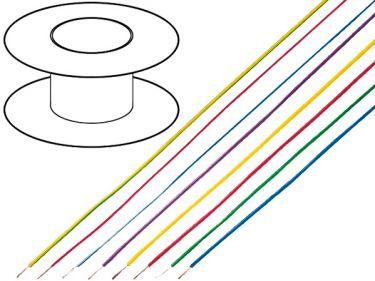 Monteringsledning - 0,5mm² trådet, GUL (100m)