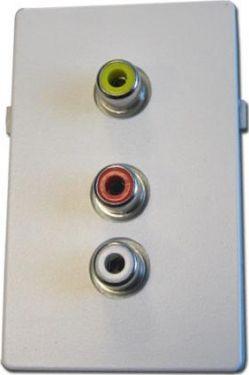 Audio/video vægdåse - 1½ modul, Hvid (FUGA tilpasset)