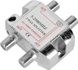 TV/FM/SAT antennesplitter - 3 vejs 5-2450MHz (til F stik)