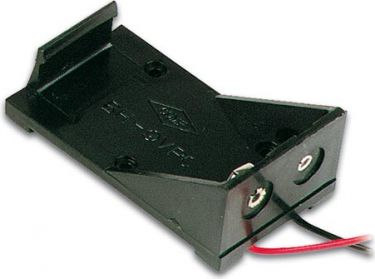 Batteriholder til 1 x 9V E-blok bat. åben (m. ledninger)