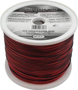 Velleman - Højttalerledning - 2 x 1,5mm² CCA, rød/sort (300m)