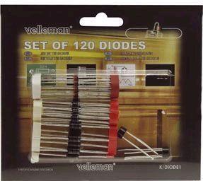 Velleman - Diodesortiment - 120 stk. dioder og bro-ensrettere