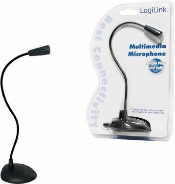 LogiLink - PC bordmikrofon - Fleksibel svanehals, 3,5mm JACK stik