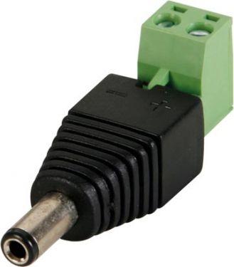 DC stik m. skrueterminaler - 5,5 x 2,1mm han (1 stk.)