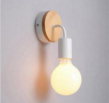 Væglampe - Nordic vintage wood, Hvid