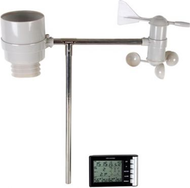 Velleman - Trådløs vejrstation m. DFC ur, nedbør, vind og temp.