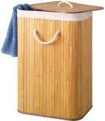 PEREL - Vasketøjskurv - Firkantet, 40 x 30 x 60cm, Naturlig bambus