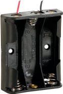 Batteriholder til 3 x AA bat. (m. ledninger)
