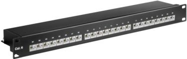 "GOOBAY - 19"" Patch panel - 1U, 24 x RJ45 CAT6 skærmet, Sort"