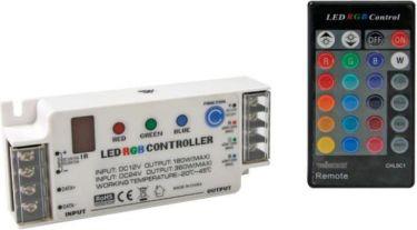 RGB LED styring m. fjernbetjening - 12/24Vdc