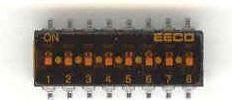 DIP kontakt - 8 x ON-OFF | 50VDC/0,1A | SMD