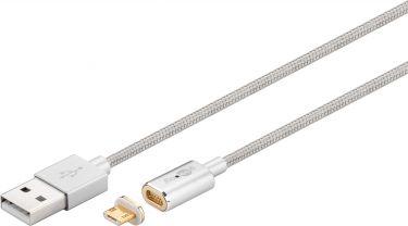 GOOBAY - USB 2.0 magnet micro-USB sync og ladekabel, Sølv (1,2m)