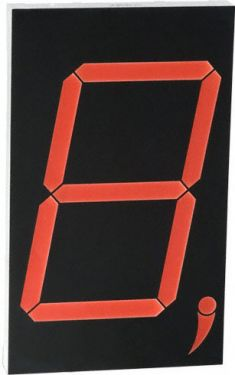 7-segment display - 180mm, CA, HI-Eff Rød (10-DIP)