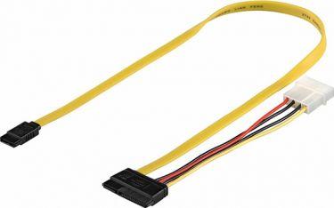 GOOBAY - Intern PC SATA 2.0 kabel - 15+7P til 7P +Strøm 4P ATX (1m)