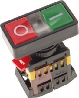 Start/stop kontakt - 230V/10A Rød/grøn kontakt m. lys (IP65)