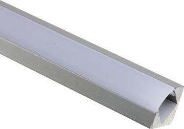 Velleman - Alu. LED strip profil - 45° hjørne dyb, Diffus (2m)