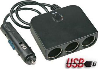 HQ Power - 4-i-1 cigarstik adapter med 5V USB udgang