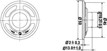 Minihøjttaler - 3W / 4 ohm, Ø50mm