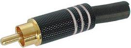 RCA(phono) han - Guld, Sort hus m. Hvid ring (kabel Ø8mm)