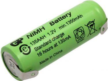 NiMH 4/5AA batteri 1,2V / 1350mAh, loddeflige (Ø14,5 x 43mm)