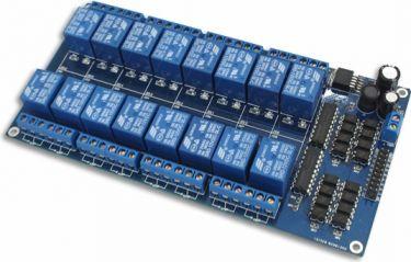 5V relæmodul m. Optokobler til Arduino - 16 kanals