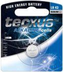 Tecxus - Tecxus - LR43/AG12 alkaline knapcelle 1,5V 100mAh (1 stk.)