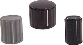Drejeknap til 4mm aksel - Ø20mm Sort m. hvid streg m. dæksel