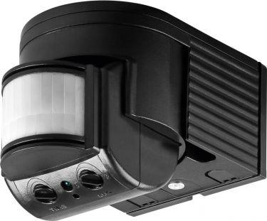 PIR bevægelsessensor - 230V/1200W 180° væg, LED ready, Sort