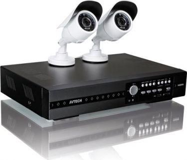 AVTech - Hybrid videoovervågningsæt - 4 kanal DVR, 2 x HD-TVI kamera