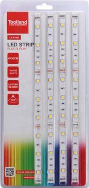 Toolland - LED stripsæt m. strømforsyning - 4x30cm, Varm hvid