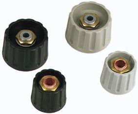 Drejeknap til 6mm aksel - 28mm, Sort (Type 2)