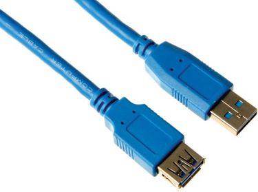 Velleman - USB 3.0 forlængerkabel - A han til A hun, Blå (2,5m)