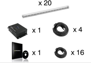 Eurolite Set 20x LED Pixel Pole 50Cm + LED PSU-4A + MADRIX KEY e