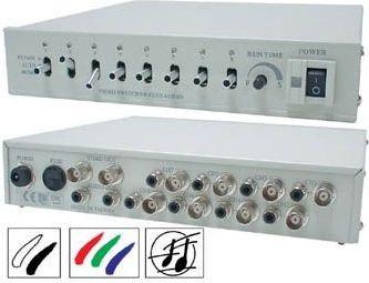 Video switch - 8 kanaler, farve, med audio (8 ind til 2 ud)