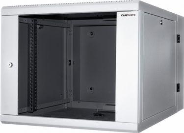 """LogiLink - 19"""" væg-rackskab - 12U, 650mm dyb, m. glaslåge, Lys grå"""