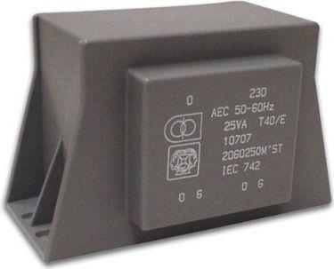 Velleman - 230V printtransformator m.flanger - 25VA 2 x 9V / 2 x 1,398A