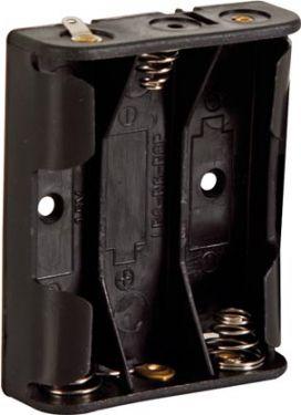 Batteriholder til 3 x AA bat. (m. loddeflige)