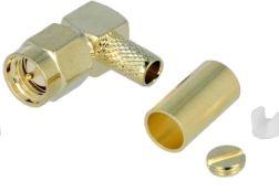 SMA han til RG58 kabel, Ø5mm, 90° (krimptype)
