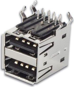 USB A hunstik - Dobbelt, 90°, printmontage